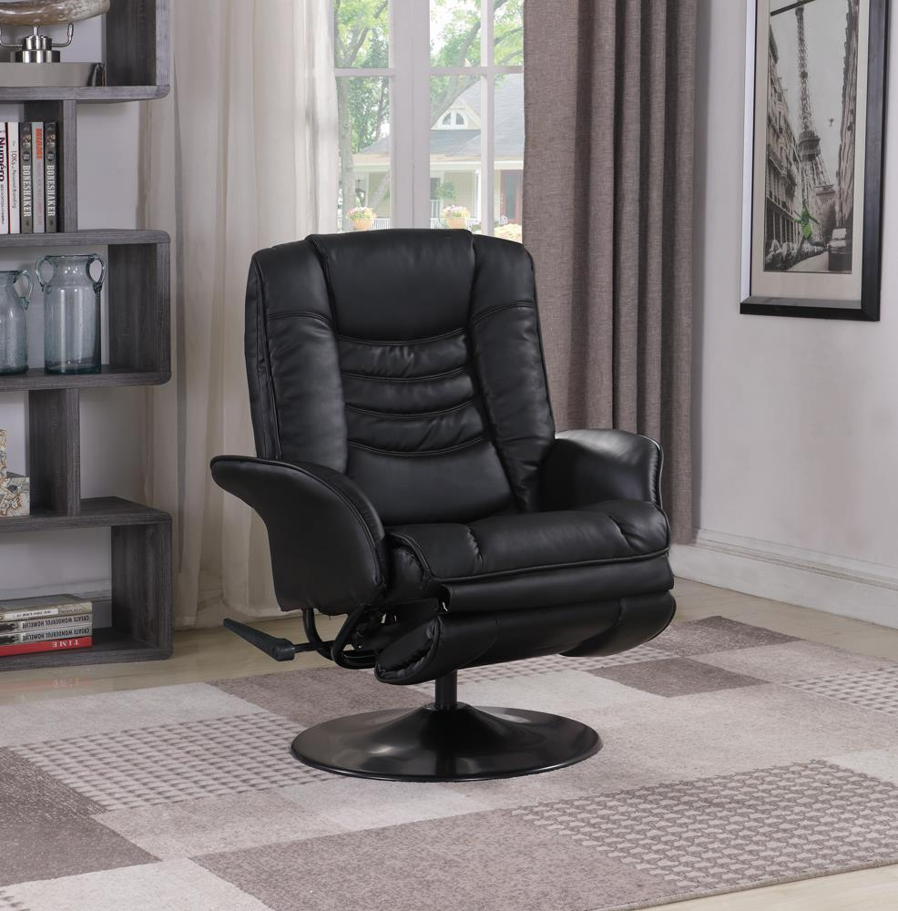 G600229 Casual Black Faux Leather Swivel Recliner image