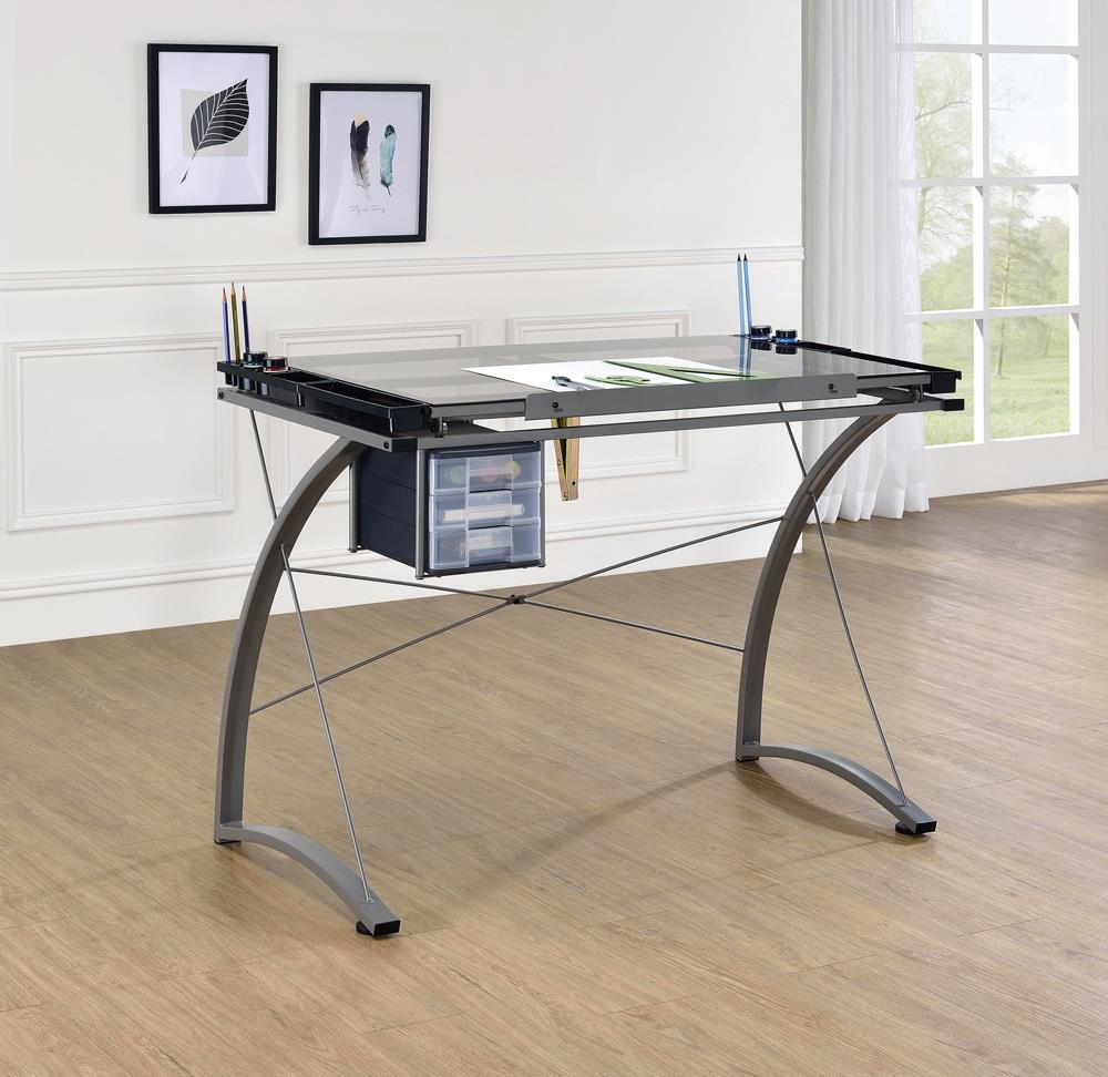 G800986 Contemporary Glass Top Drafting Desk image