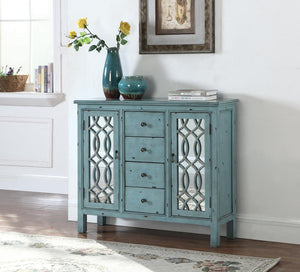 French Country Antique Blue Accent Cabinet