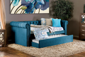 LEANNA Dark Teal Daybed w/ Trundle, Teal