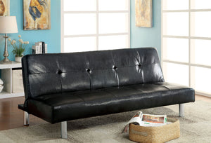 EDDI Black/Chrome Futon Sofa, Black