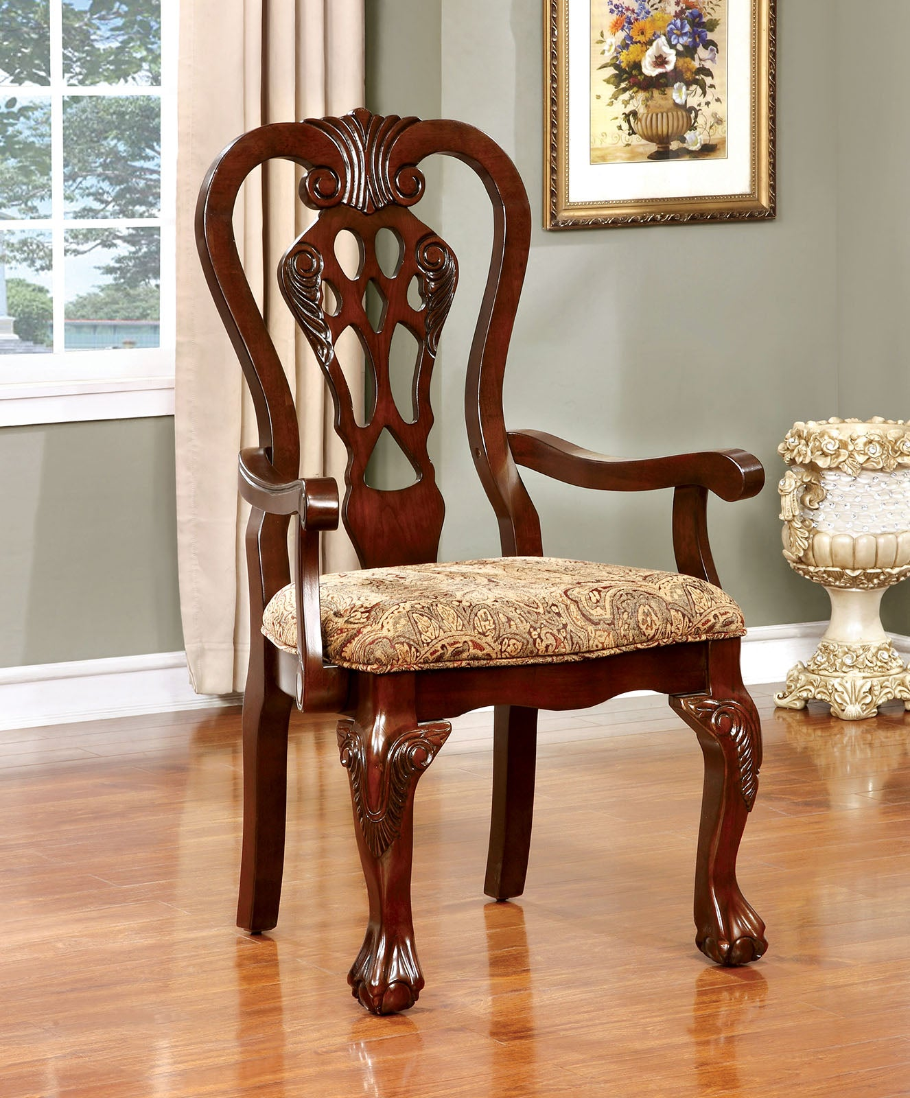 ELANA Brown Cherry Arm Chair (2/CTN) image