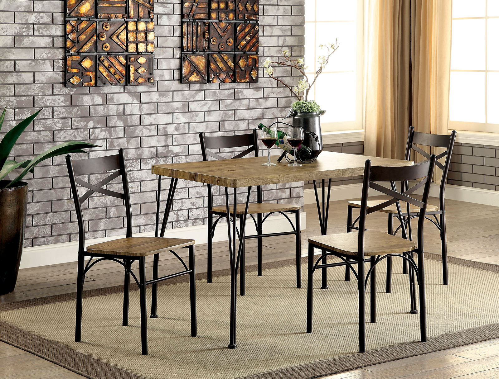 "BANBURY Gray/Dark Bronze 5 Pc. 43"" Dining Table Set, Gray"