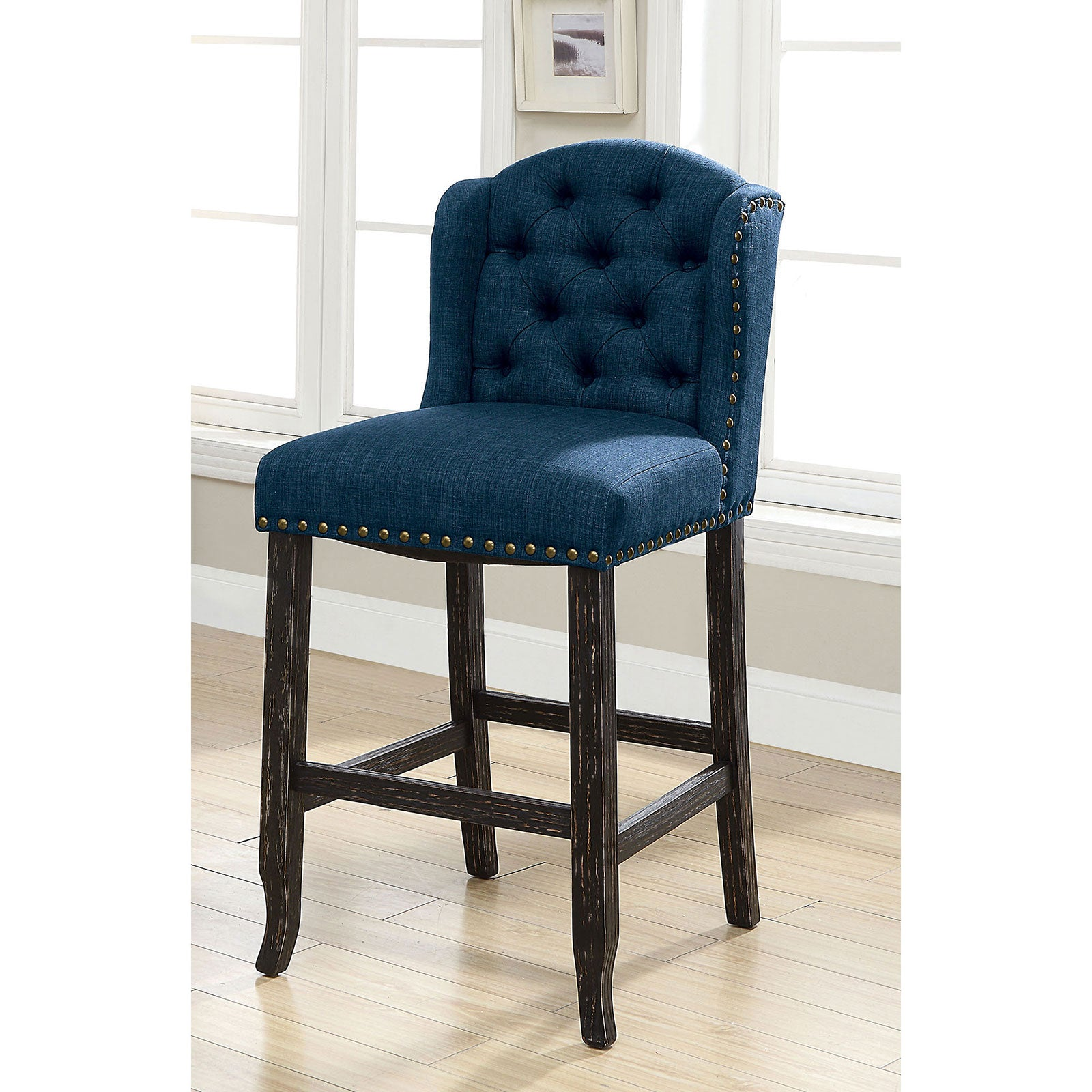 SANIA Antique Black Bar Ht. Wingback Chair (2/CTN)