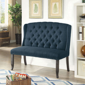 Sania III Blue 2-Seater Love Seat Bench, Blue