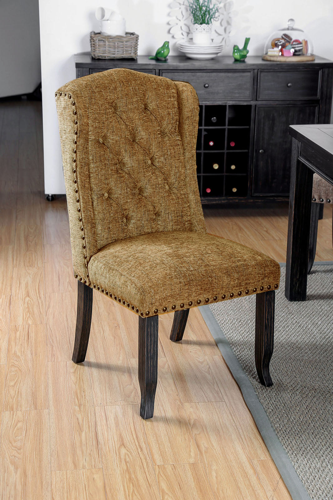 Sania III Antique Black/Gold Side Chair (2/CTN)