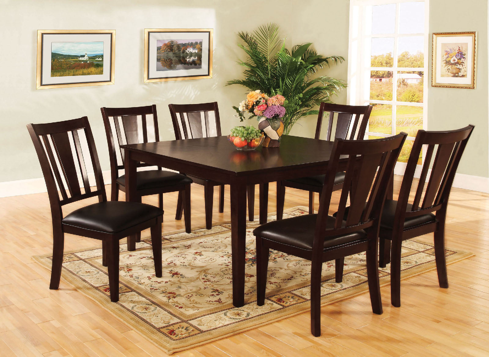 Bridgette I Espresso 7 Pc. Sq. Dining Table Set