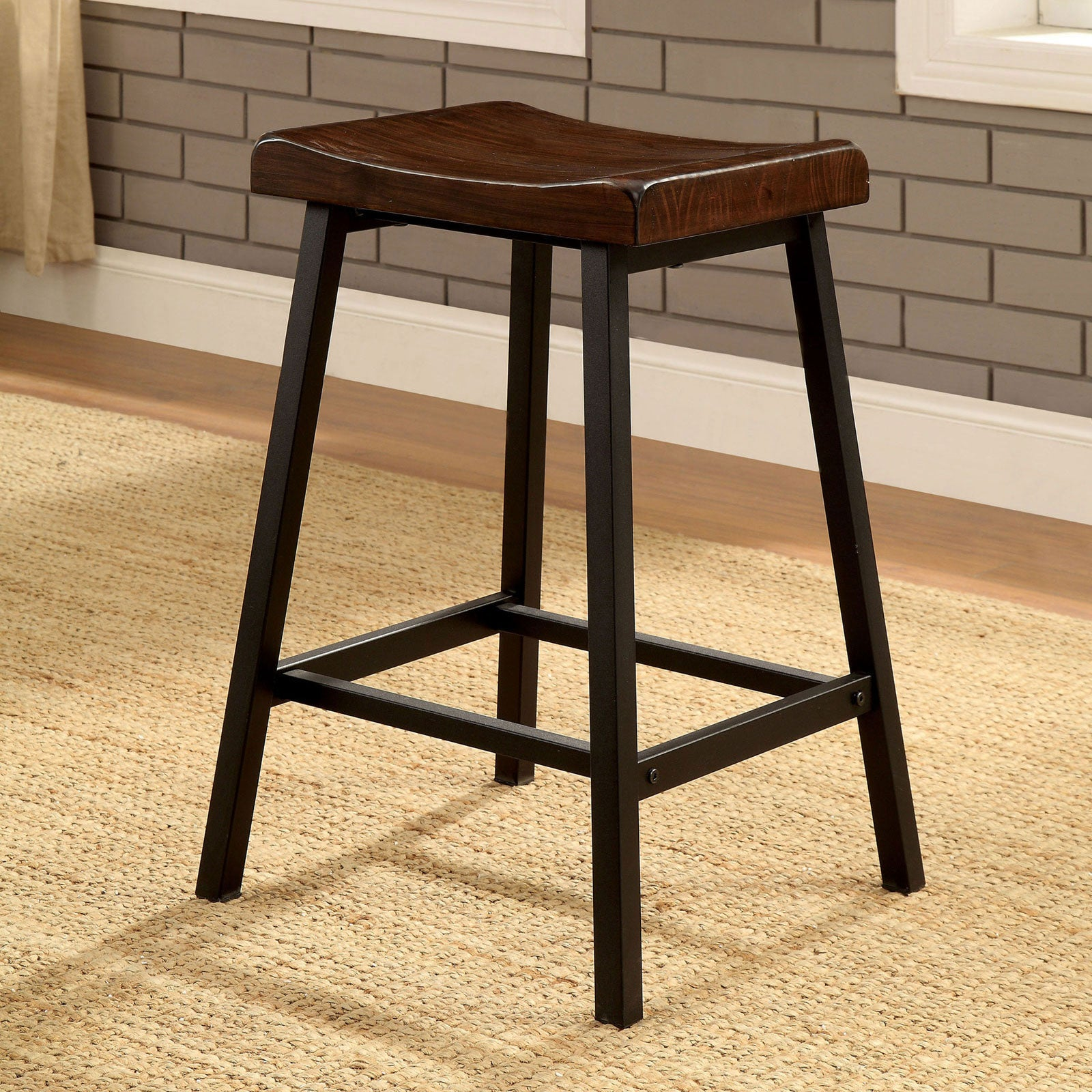 Lainey Medium Weathered Oak/Black Counter Ht. Stool (2/CTN)
