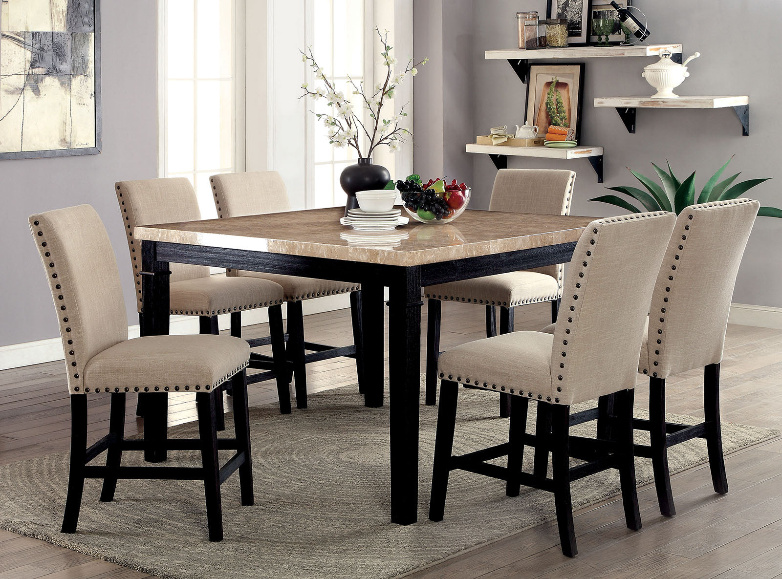 DODSON II Black, Ivory 7 Pc. Counter Ht. Table Set image