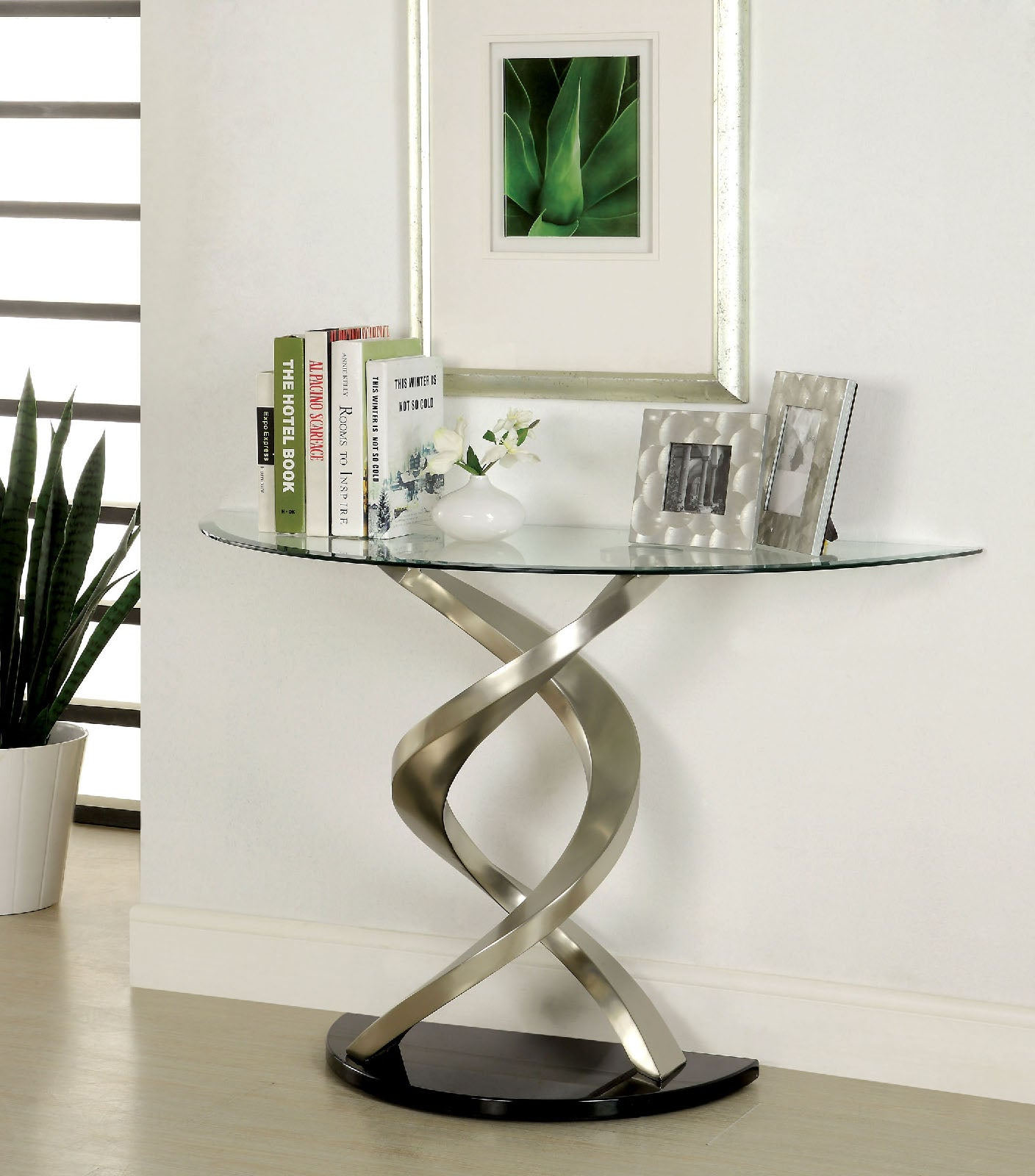 NOVA Satin Plated/Black Sofa Table