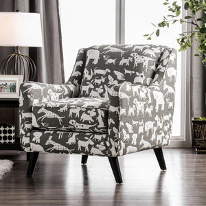 Patricia Ivory/Black Animal Pattern Chair