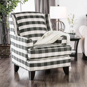 Patricia Ivory/Black Stripe Chair