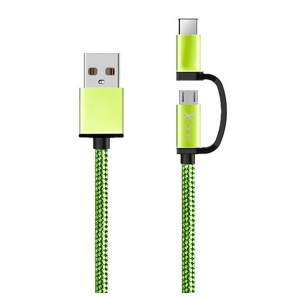USB Cable to Micro USB and USB C Ref. 101134 Green