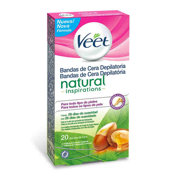 Veet Natural Inspirations Easy Gelwax Hair Removing Wax Strips (Pack of 20)