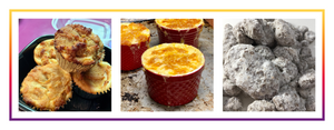 Images of some of Chef Alexa's popular dishes: Tressa's Pumpkin Cream Cheese Muffins, Mac(adamias) and Cheese, and Puppy Chow