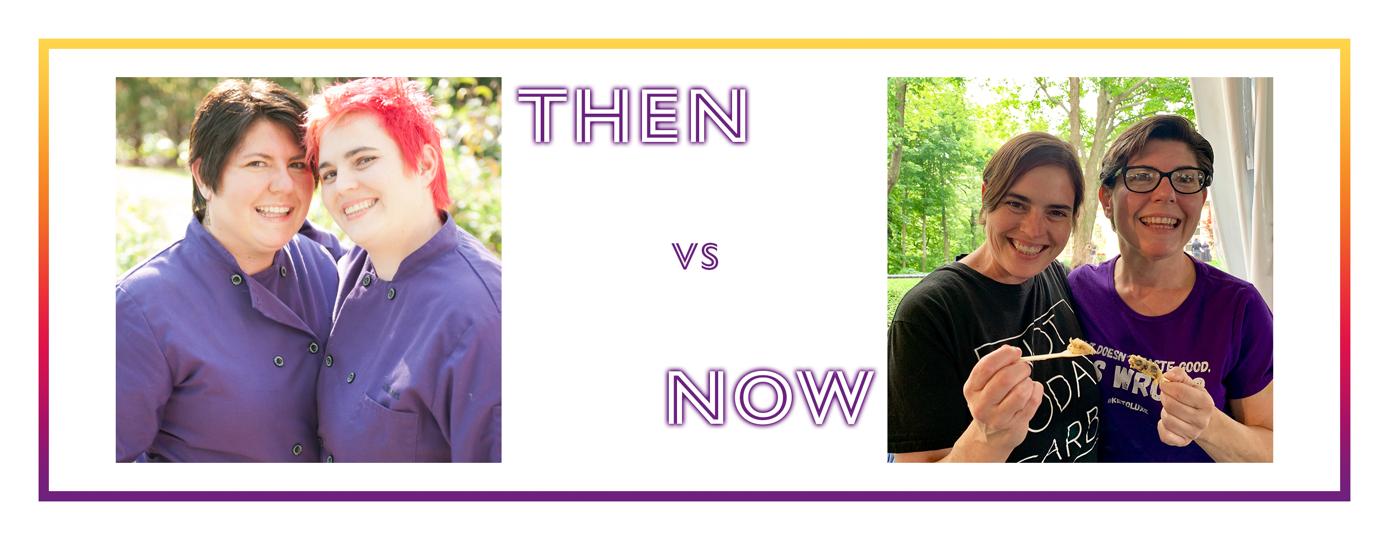 "Image showing pictures of Sam and Alexa before and after their weight loss. The text reads ""Then vs. Now."""