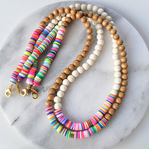 Rainbow Heishi and Wood Bead Mask Chain Necklaces