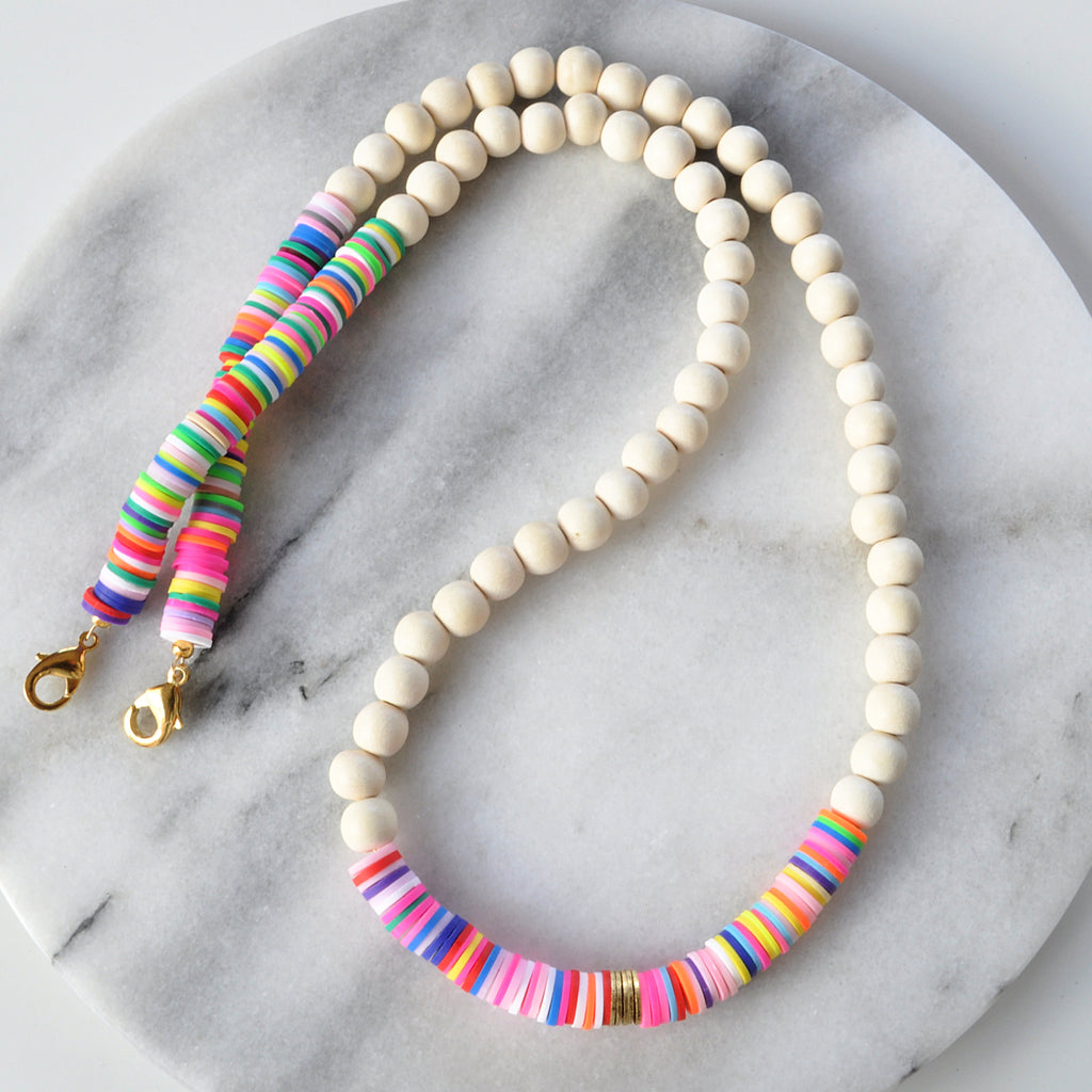 Libby & Smee Rainbow Heishi and Wood Bead Mask Chain Necklaces
