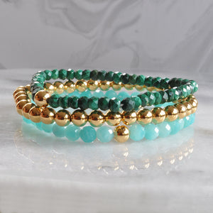Libby & Smee stretch bracelets in malachite, gold plated and amazonite