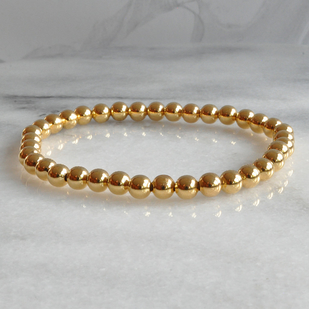 Libby & Smee gold beaded stretch bangle bracelet
