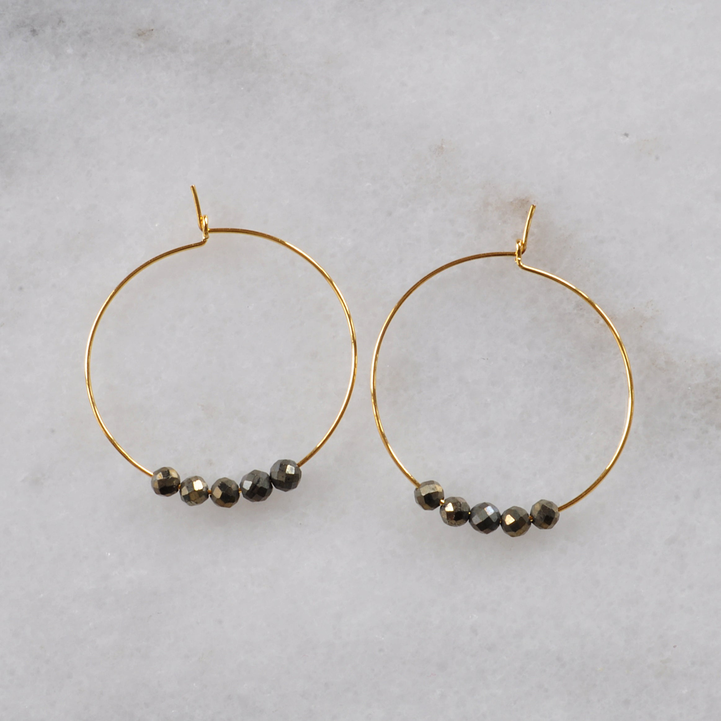 Libby & Smee pyrite gold plated hoops