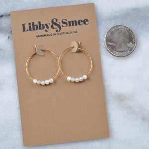 Gemstone 25mm Hoop Earrings - MOONSTONE