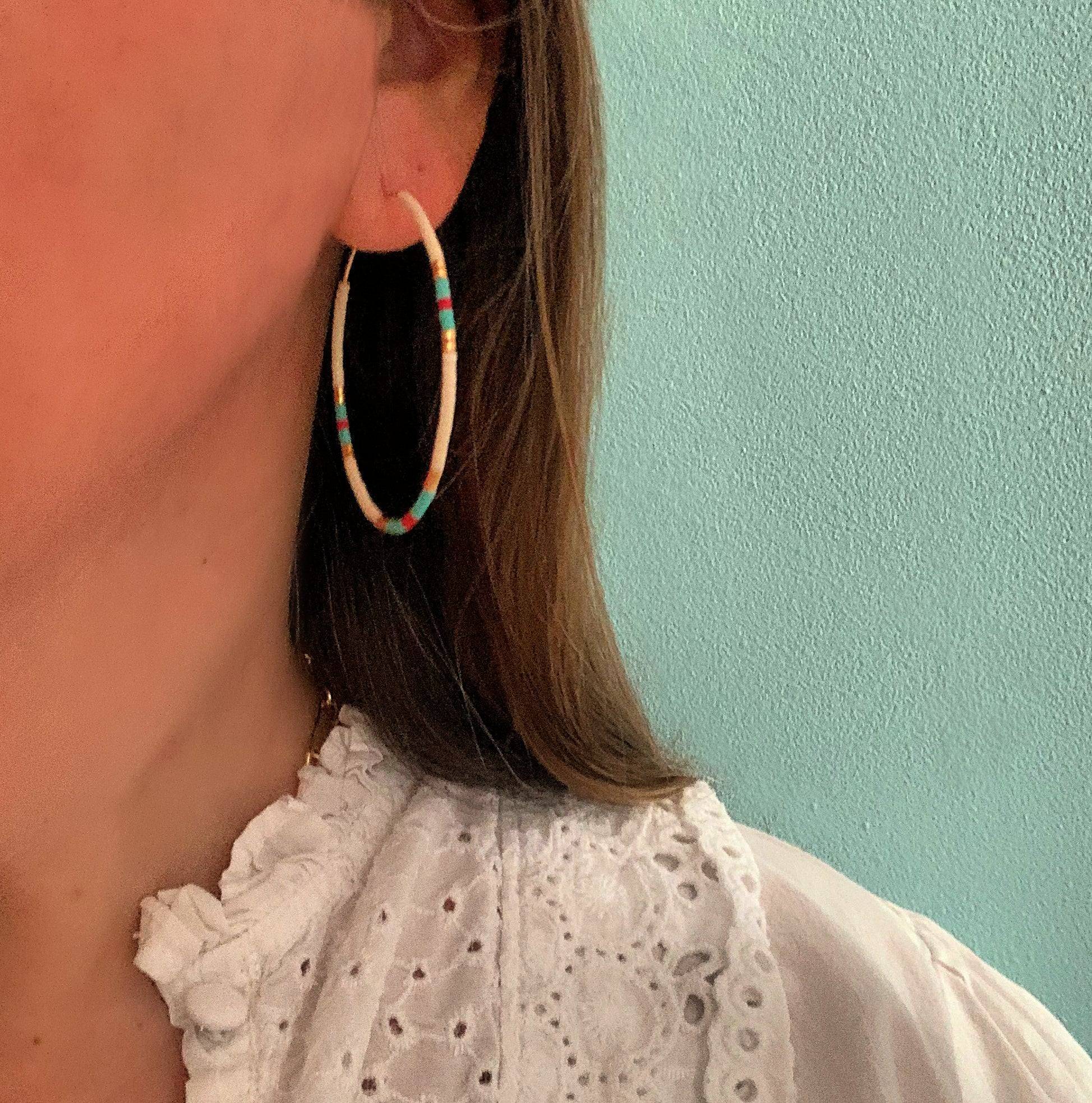 Gold Filled Seed Bead Hoop Earrings