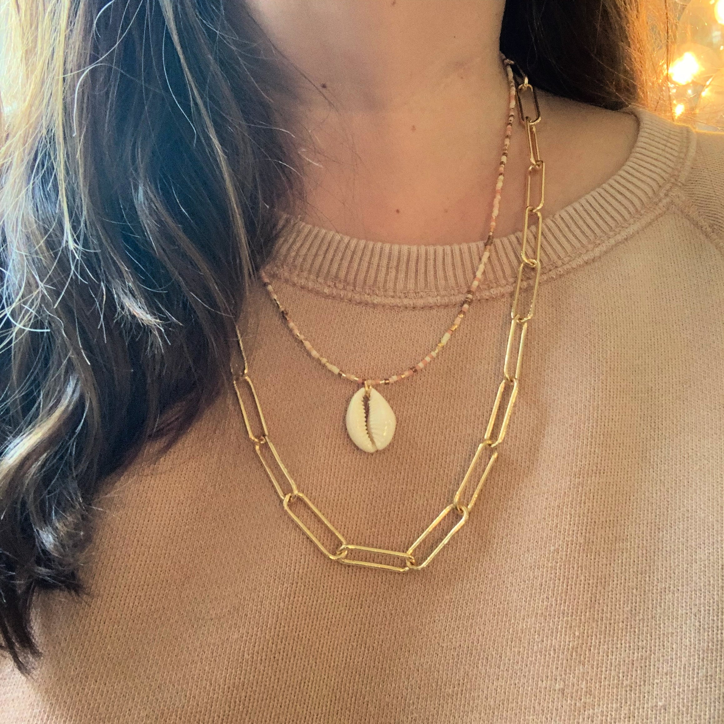 Gold Paper Clip Chain Necklace
