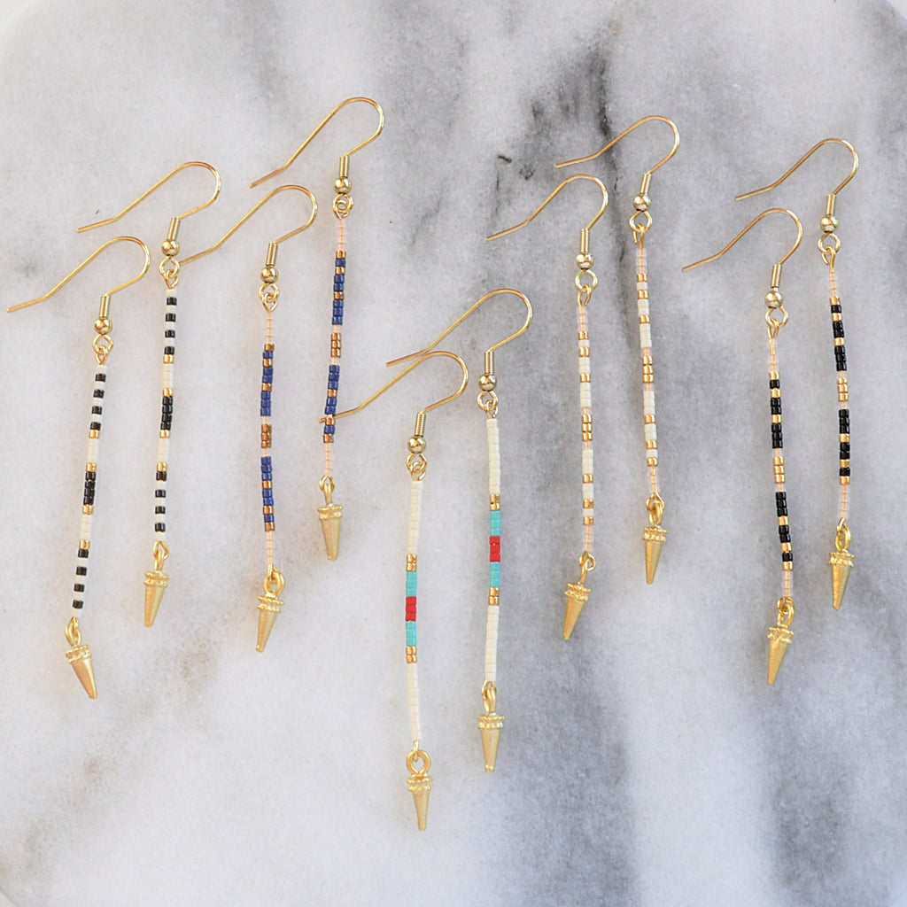 Libby & Smee long linear beaded stick earrings with spike