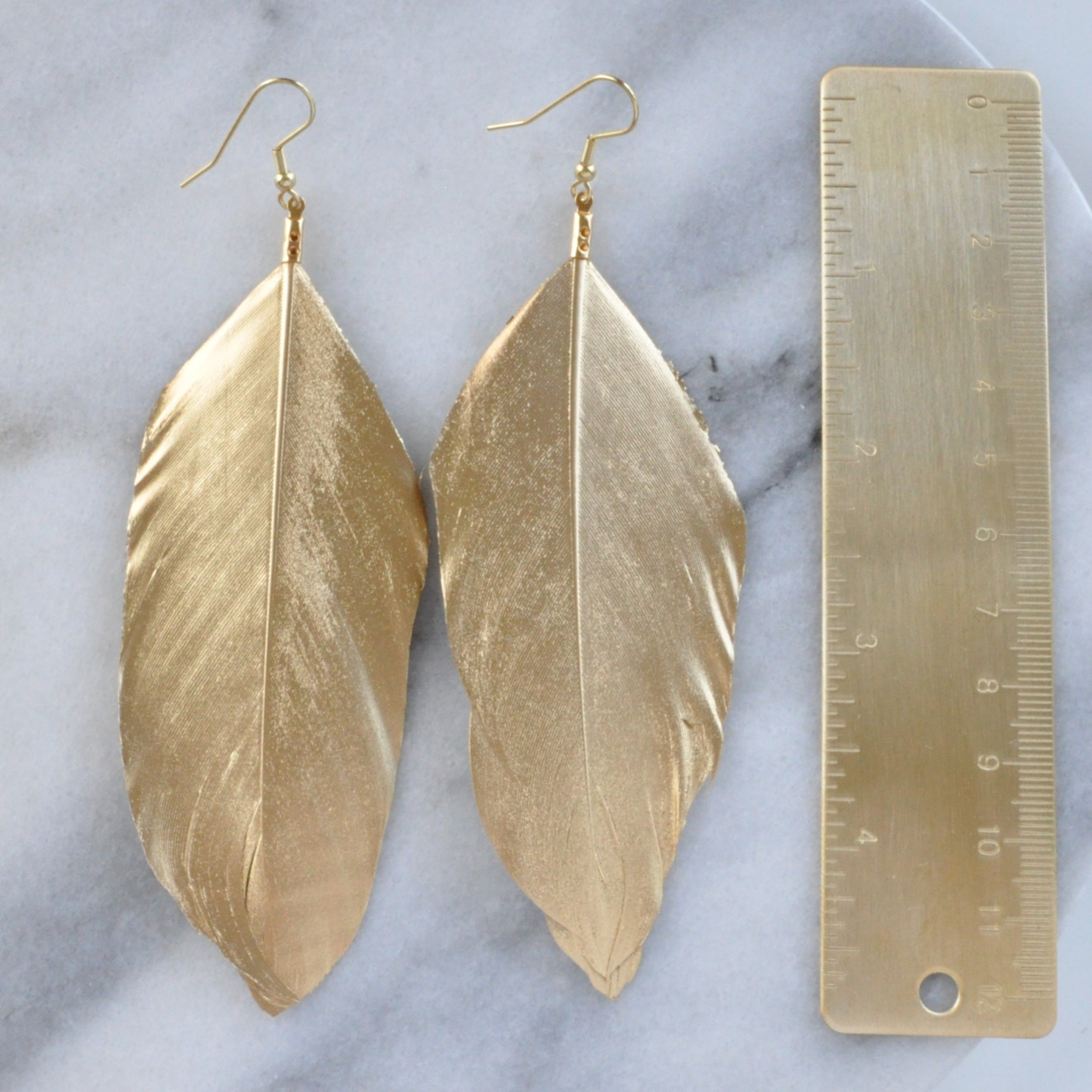 "Gold 5"" Feather Earrings"