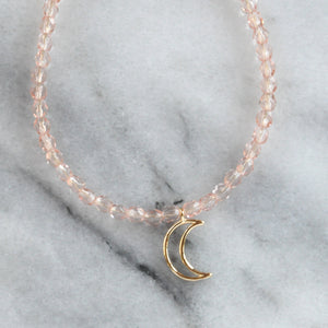 Libby & Smee crystal bead necklaces pink with moon