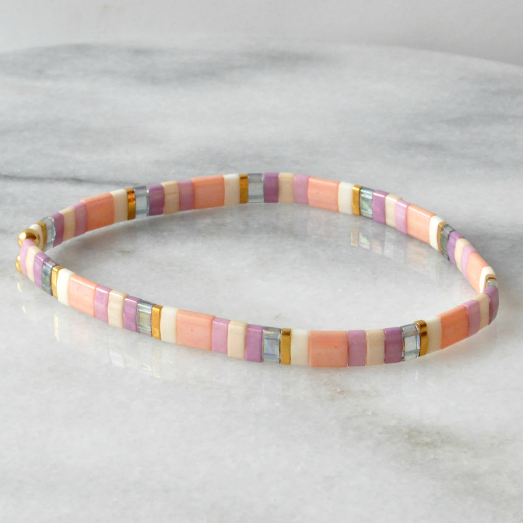 Libby & Smee stretch tile bracelet in Cotton Candy