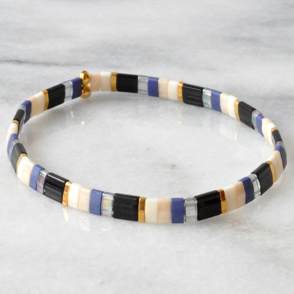 Libby & Smee stretch tile bracelet in Midnight