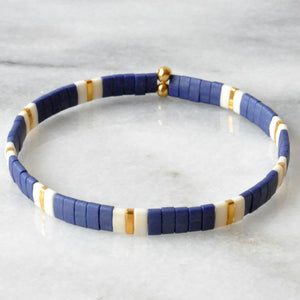 Libby & Smee stretch tile bracelet in Navy Pattern