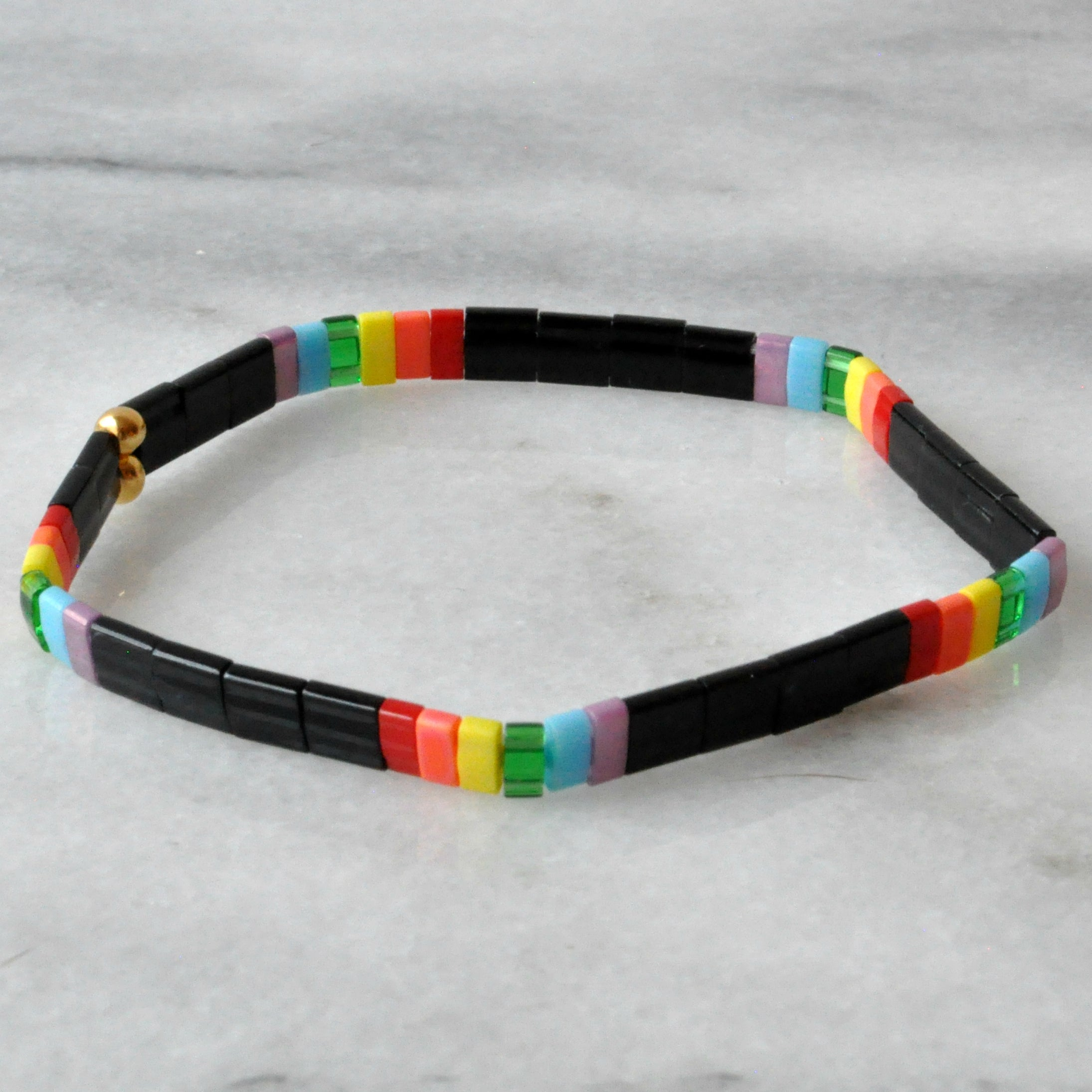 Libby & Smee stretch tile bracelet in Black Rainbow