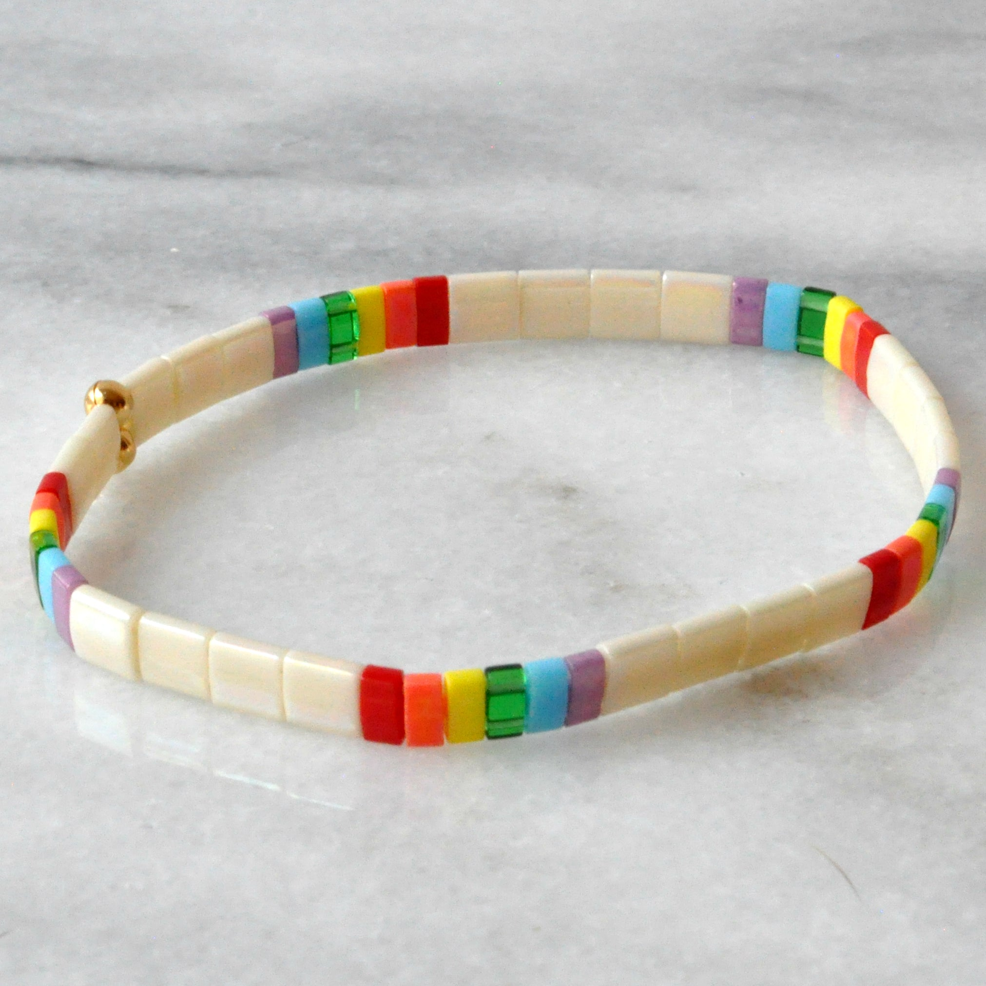 Libby & Smee stretch tile bracelet in Ivory Rainbow