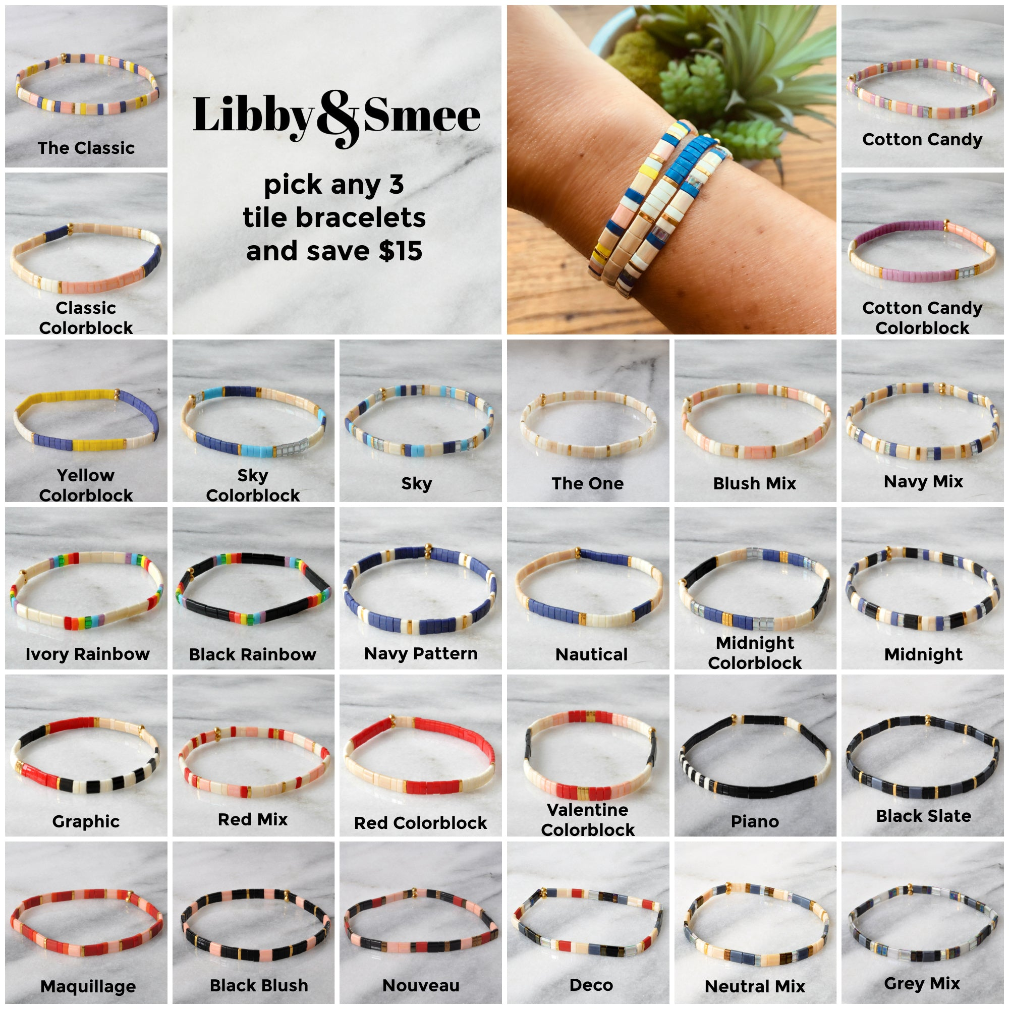 Libby & Smee stretch tile bracelet sets