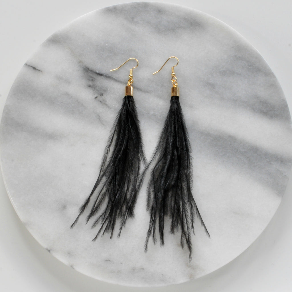 Libby & Smee Black Feather Earrings with Gold Caps, Still Life