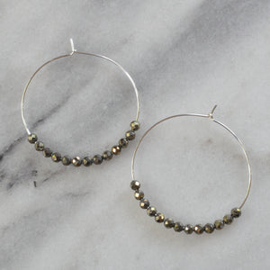 Sterling Silver Gemstone Hoop Earrings