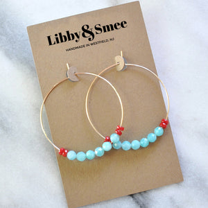 Amazonite and Coral Beaded Hoops