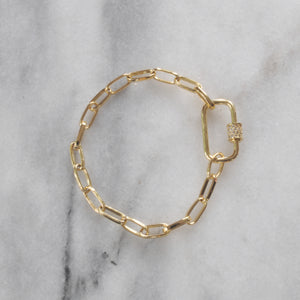 Libby & Smee gold link carabiner  bangle bracelet with pave carabiner lock