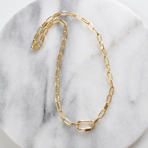 Libby & Smee plain carabiner gold link necklace