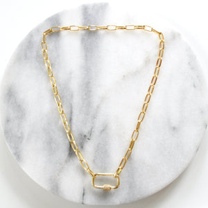 Libby & Smee gold chain necklace with pave carabiner lock