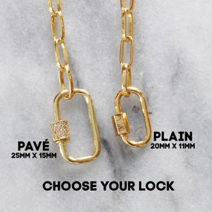 Libby & Smee gold chain necklaces with carabiner locks