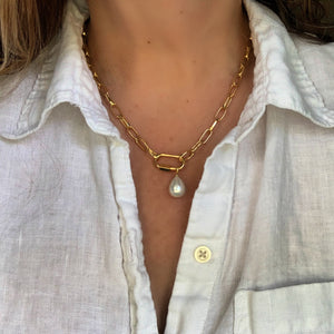 Libby & Smee gold chain necklace with chunky carabiner lock and pearl