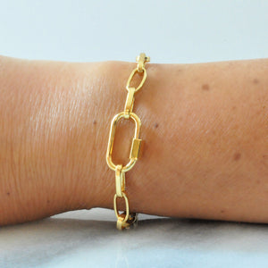 Libby & Smee gold link carabiner  bangle bracelet with plain carabiner lock