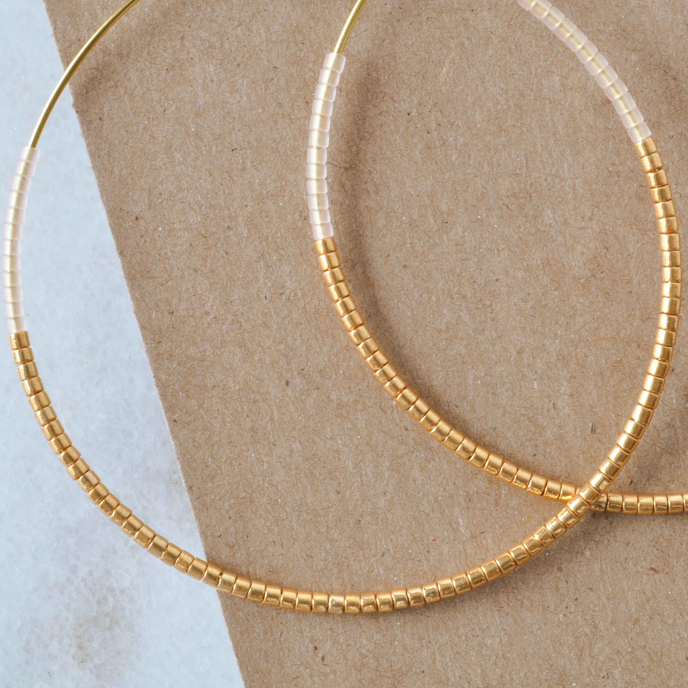 Gold and Blush Beaded Hoop Earrings