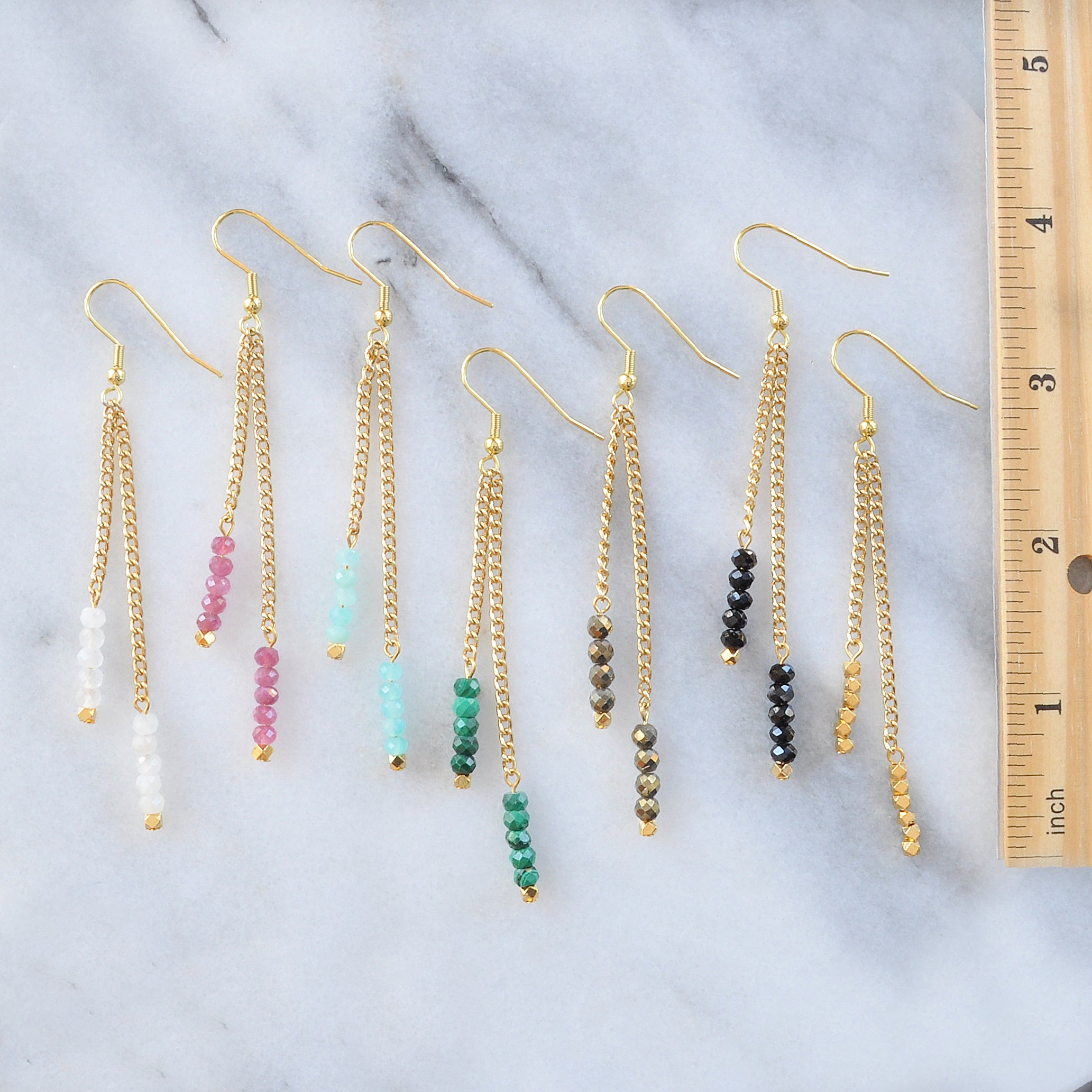 Libby & Smee Gemstone Gold chain Earrings available with Moonstone, Pink Tourmaline, Amazonite, Malachite, Pyrite, Black Spinel and Gold Beads measure 3.5 inches long