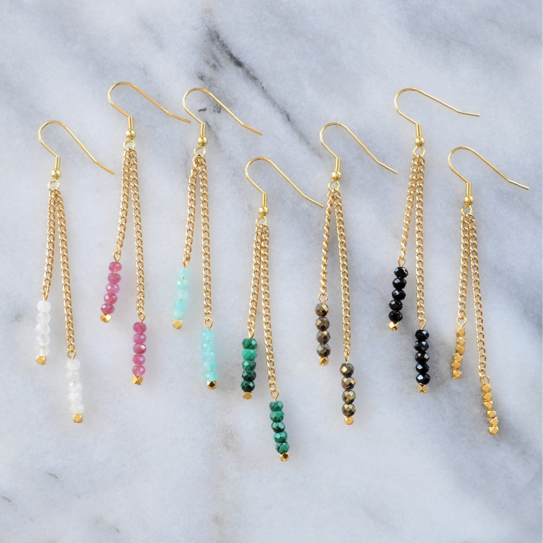 Libby & Smee Gemstone Gold chain Earrings available with Moonstone, Pink Tourmaline, Amazonite, Malachite, Pyrite, Black Spinel and Gold Beads