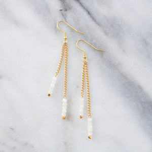 Libby & Smee Gemstone Gold chain Earrings available with Moonstone beads